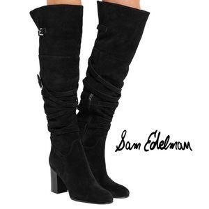 Sam Edelman Sable Black Suede Over Knee Boots  10